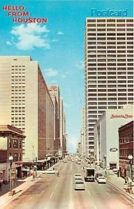 TX, Houston, Texas, Main Street, American Post Card No. 96029-B