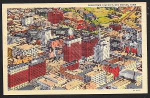 Downtown Business District Des Moines Iowa Unused c1934