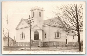 Star City Indiana~Methodist Episcopal ME Church~Plank Across Ditch~1914 RPPC