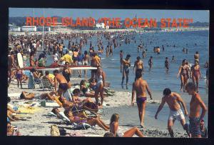 Narragansett, Rhode Island/RI Postcard, Narragansett Town Beach, Bathers