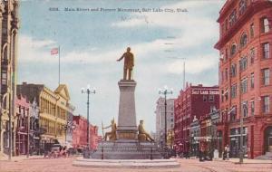 Utah Salt Lake City Main Street and Pioneer Monument 1911