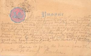 Poughkeepsie New York Vassar College Seal Antique Postcard J44047