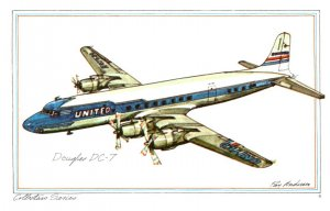 Douglas  DC-7 ,  United Airlines , artist signed
