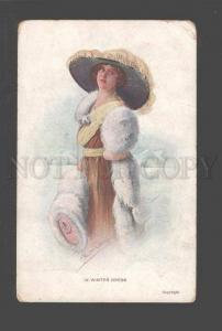 094785 Stylish BELLE Lady in Hat by Cut VOLKER Vintage colorPC