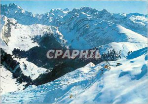 Postcard Modern Morzine Haute Savoie The cable car summit of the tip of Nions
