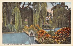 ROCHESTER NY~WILLOW POND-STONE ARCH BRIDGE + HAYES EAST RESIDENCE POSTCARD 1920s