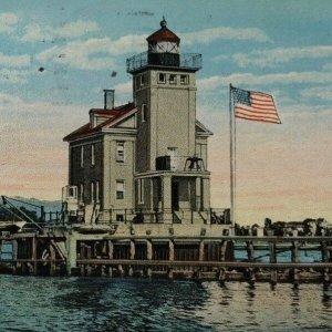 Kingston NY Lighthouse Roundout Creek vintage postcard 1920s