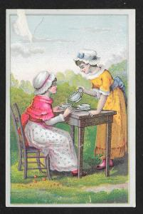 VICTORIAN TRADE CARD Women Having Tea