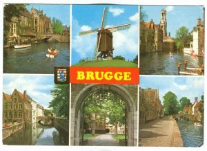 Belgium, Brugge, Bruges, multi view unused Postcard
