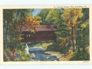 Linen COVERED BRIDGE West Brattleboro Vermont VT d4762