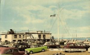 hampshire, HAYLING ISLAND, The Yacht Club, Cars (1960) Postcard
