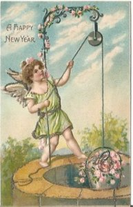 Antique Postcard A Happy New Year Embossed Angel Cherub at Wishing Well