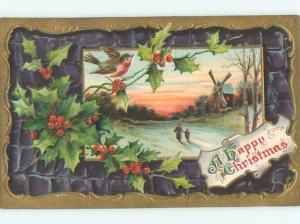 Divided-Back CHRISTMAS BIRDS SCENE Pretty Postcard W8542