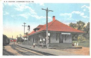 Busy Scene at Livermore Falls ME Railroad Station Train Depot Postcard