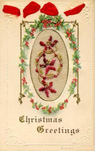 Embroidered Silk - Christmas Greetings
