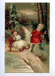 189581 X-MAS Winter Girls SLED Vintage LITHO colorful postcard