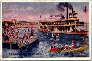 Vintage Minnesota Postcard AT LAKE MINNETONKA Comic Boating Scene 1908 Cancel