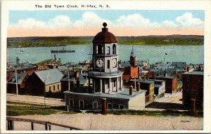 The Old Town Clock Halifax Nova Scotia Linen Postcard