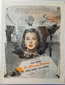 Movie Ad The Strange Woman Hedy Lamarr 1946 LIFE Magazine EXL100150