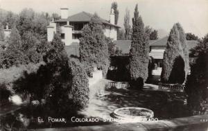 Colorado Springs~Finely Coiffed Hedges @ El Pomar~Real Photo Postcard~RPPC 1940s