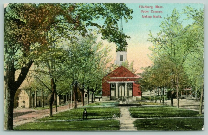Fitchburg MA Upper Common North Looking @ Church~Lonely Bench-Sitting Man~c1910