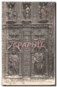 Old Postcard Aix en Provence Details of the Gate of St Sauveur Cathedral fift...