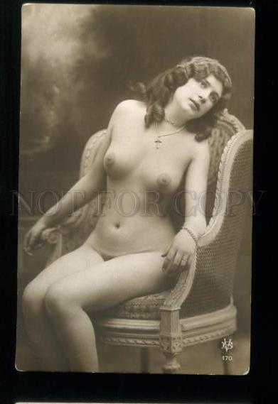 135549 NUDE Woman BELLE on Chair Vintage PHOTO VB #170 PC