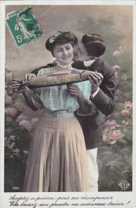 1er Avril April Fool's Day Romantic Couple With Fish 1908