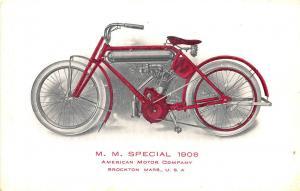 Brockton MA 1908 Special Motorcycle American Motor Postcard