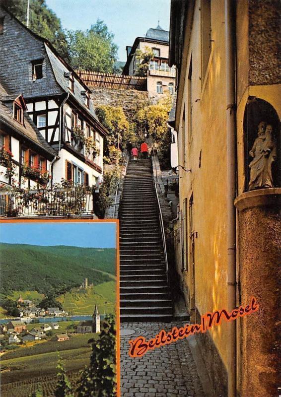 Beilstein romantischer Ort an der Mosel, Stairway Statue River Church Panorama