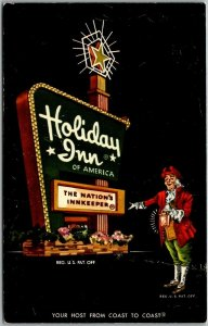 Elizabeth City NC Postcard HOLIDAY INN HOTEL Highway 17 Roadside c1960s Unused