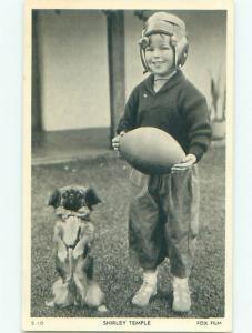 1930's Shirley Temple Original Postcard DOG BESIDE SHIRLEY WITH FOOTBALL AC6379