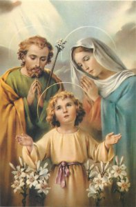 Religion Postcard Holy Family illustration