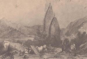 Mahadeo Hills Temple E Finden Madhya Pradesh Antique Indian Painting Postcard