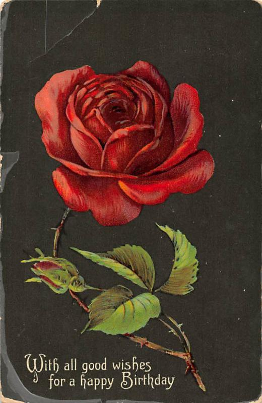 With All Good Wishes For A Happy Birthday Beautiful Red Rose Flower