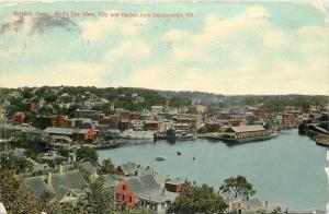 Norwich Connecticut~Birds Eye View~City and Harbor~1911 Postcard