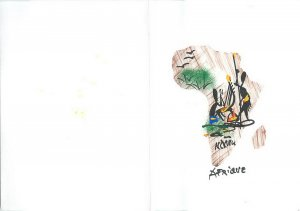 Hand drawn artist signed handmade greetings card Central Africa continent map