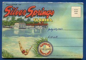 Silver Springs Florida fl Underwater Fairyland postcard folder