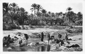 Lot121 washers at the edge of the wadi  real photo Tunisia africa types folklore