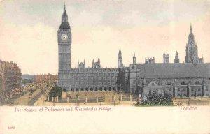 Houses of Parliament Big Ben Westminster Bridge London England UK 1910c postcard