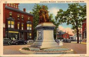 Maine Portland Longfellow Square Longfellow Monument 1945 Curteich