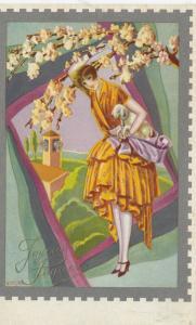 ART DECO ; Female posing under cherry blossom branch, baby lamb, 1910-20s