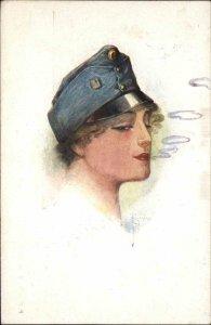 Beautiful Woman in Military Hat Smoking? Smoke Rings c1915 Postcard