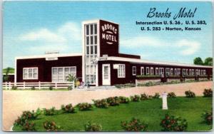 Norton, Kansas Postcard BROOKS MOTEL Highway 36 Roadside Linen 1955 Cancel