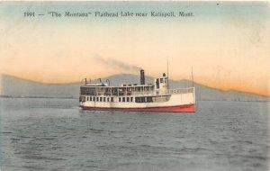 F48/ Kalispell Montana Postcard c1910 Montana Flathead Lake Boat