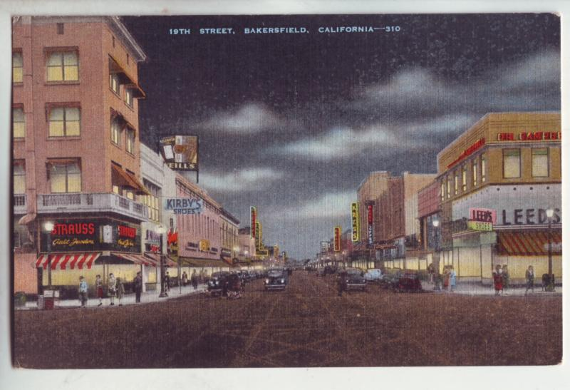 P1087 old card unused 19th ave scene old cars store signs etc bakersfield calif