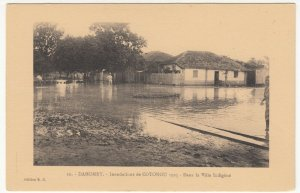 Benin; Dahomey, No 10, 1925 Cotonou Floods, The Native Village PPC By ER, Unused
