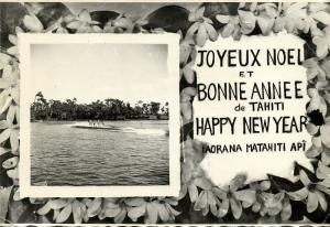 french polynesia, TAHITI, Merry Christmas and Happy New Year (1954) Real Photo