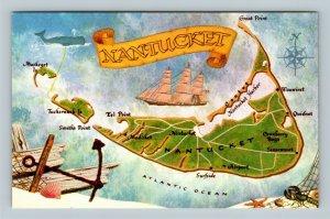 Nantucket Island Map, Clipper, Harbor, Atlantic, Chrome Massachusetts Postcard
