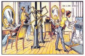 Postcard, A Vision of Year 2000 in the 19th Century, A New Fangled Barber 2K1
